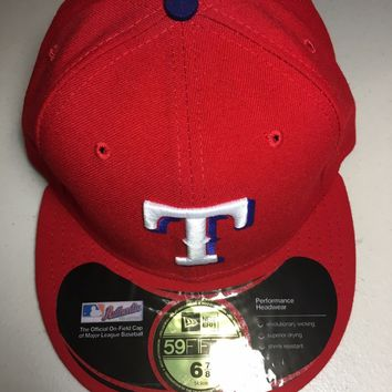 TEXAS RANGERS MLB RETRO NEW ERA 5950 RED W/ BLACK UNDER FITTED HAT