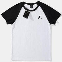 AIR JORDAN Tide brand men and women classic embroidery logo round neck shirt black