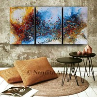 """Large Wall Art, 72"""" Abstract Painting Framed, Canvas Modern Art, Contemporary Blue Orange Art Home Decor by Nandita Albright"""