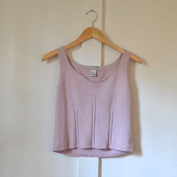 lilac knit crop top / small / flower detail / silk rabbit hair