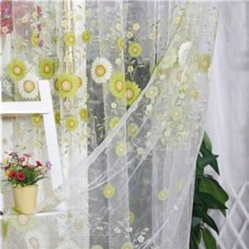 Sunflower Tulle Voile Window Curtain Drape Panel Sheer Scarf Valance Curtains For Living Room