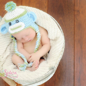Crochet Sock Monkey Hat - Monkey Photo Prop, Costume, Baby, Newborn, Toddler, Child, Picture Prop, Photography, Beanie, Baby Boy Hat