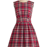 Emily and Fin Scholastic Mid-length Sleeveless A-line Too Much Fun Dress in Red Plaid