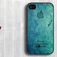 Case for black iphone 4 case iphone 4s case iphone 4 cover illustrator classic  green metal Iphone Logo design printing