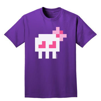 Retro 8-Bit Skull with Pink Bow Adult Dark T-Shirt