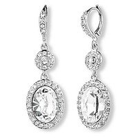 Givenchy Oval Drop Earrings - Silver/Crystal