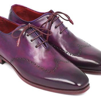 Paul Parkman Men's Purple Wingtip Oxfords Shoes (ID#84HT12)