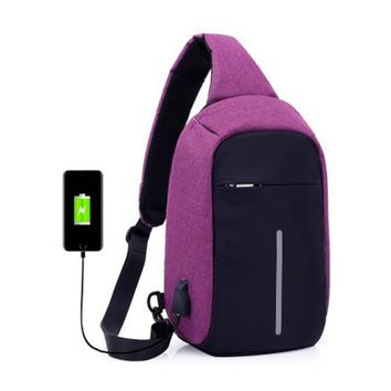 Antitheft External USB Charging Incline Shoulder Bag