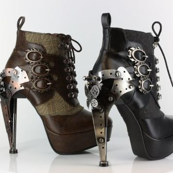 My Associates Store - METROPOLIS HADES OXFORD GOTHIC STEAMPUNK VICTORIAN METAL GEARS PLATFORM ANKLE BOOTS HEELS