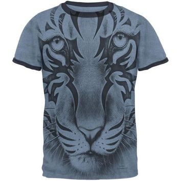 ONETOW Tribal Tiger Ghost Heather Blue-Navy Men's Ringer T-Shirt