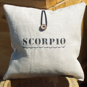 Decorative Burlap Throw Pillow Cover with Custom Zodiac Personal Label Astrology Natural Perfect for Personalized Birthday Gift or Baby Gift
