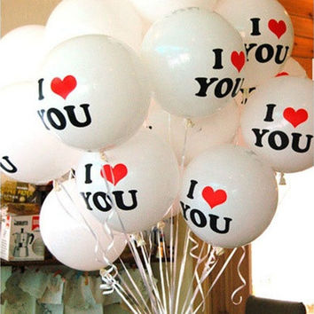 10pcs White I LOVE YOU Latex Balloons Birthday Party Wedding Anniversary Decor CC200 [7983357959]