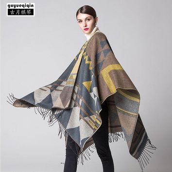 2018 New Arrival Printing Women Shawl Bohemia Thicken Tassels Scarves Boho Autumn Winter Femme Ponchos Capes Streetwear Scarf