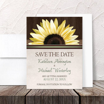 Sunflower Save the Date Cards - Country Sunflower Over Wood Rustic - Printed Flat Cards