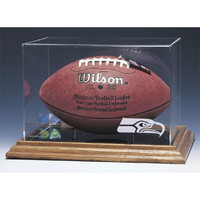 Seattle Seahawks NFL Football Display Case (Wood Base)