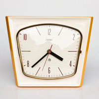 Ceramic Wall Clock by Peter  / Micentury Germany / Yellow