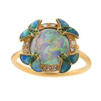 Eugène Feuillâtre Art Nouveau Diamond, Opal, Gold and Enamel Ring