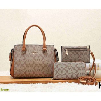 COACH Women Shopping Leather Tote Crossbody Satchel Shoulder Bag Set Three Piece Brown