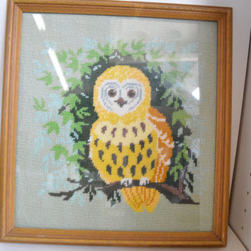 Unique, Vintage, Handmade, Needlepoint, Owl.