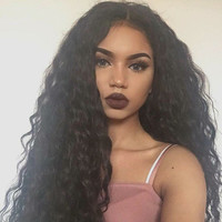 "26"" Brazilian Loose Wave 100% Virgin Top Grade Human Hair Frontal Wig w/ Realistic Lace"