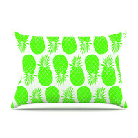 """Anchobee """"Pinya Neon Green"""" Lime Pattern Pillow Case"""