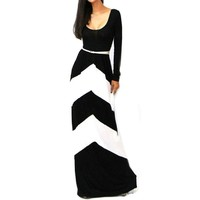 Aokdis Sexy Long Sleeve Long Maxi Evening Party Dress (L, White)