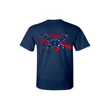 Men's Confederate Rebel Flag T Shirt Protected By The 2nd Amendment Short Sleeve Tee w/ Pocket