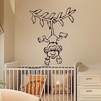 Wall Decals Monkey Decal Vinyl Sticker Branch Window Children Nursery Bedroom Hall Home Decor Dorm Interior Design Art Murals MN627