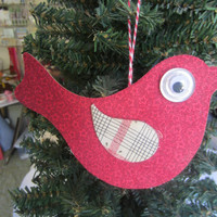 Red Fabric Bird Hanging- Birdie Ornament-Mixed Media Decoration Ornament- Christmas Ornament-Bird Tag