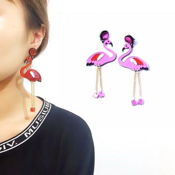 2018 New Korean Long Pendant Pink Flamingo Pendant Earrings Women Acrylic Bird Animal Charms Stud Earrings Jewelry Dropshipping