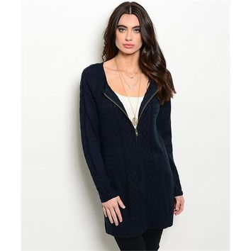 Navy Zip Up Cable Knit Sweater