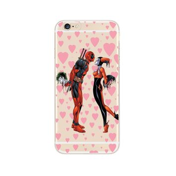 "Transparent PC Protector Case For Coque iPhone 7 8 6 6S Plus X SE 5 5S Case Deadpool & Harley Quinn ""Crazy In Love"" Cover"