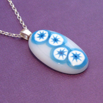 Fused Glass Necklace with Turquoise and White Accents - Chains of Love by mysassyglass