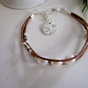 Natural Leather Bracelet with Pearls and Silver Accents, Boho Style