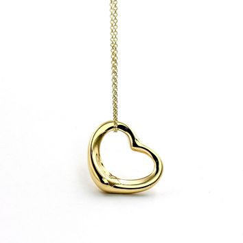 Tiffany & Co. Elsa Peretti Open Heart Necklace in 18k Yellow Gold 22mm 16""