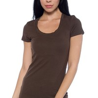 Zenana Outfitters Basic Scoop Neck T-Shirt - Brown