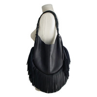Frangia leather hobo bag, black goatskin
