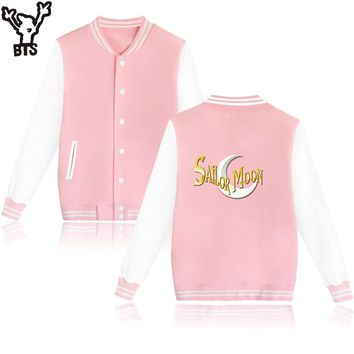 BTS Sailor Moon Cartoon Design Mens Hoodies And Sweatshirts Baseball And Plus Size Sailor Moon Women Sweatshirts Autumn Clothes