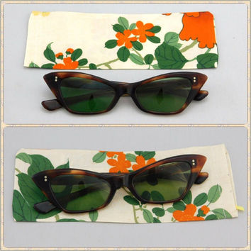 1950's Vintage Brown Tortoise Shell Plastic Frame Cat-Eye Sunglasses & Kimono Silk Eyeglass Case, Made in France