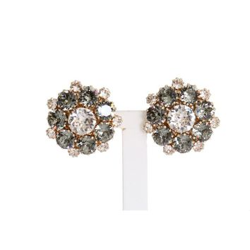 Dolce & Gabbana Gold Brass Crystal Floral Clip On Earrings