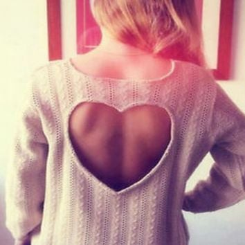 Cutout Heart-Shaped Long Sleeve Pullover Sweater