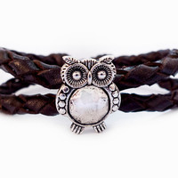 Brown Braided Leather Antique Silver with Cute OWL Charming Bracelet