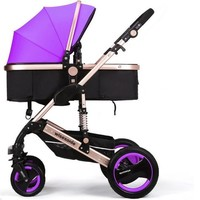 Luxury Newborn Baby Foldable Anti-shock High View Carriage Infant Stroller Pushchair - Purple