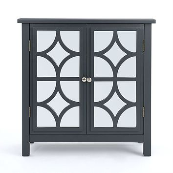 Charcoal Grey Bathroom Storage Floor Cabinet with Mirror Doors