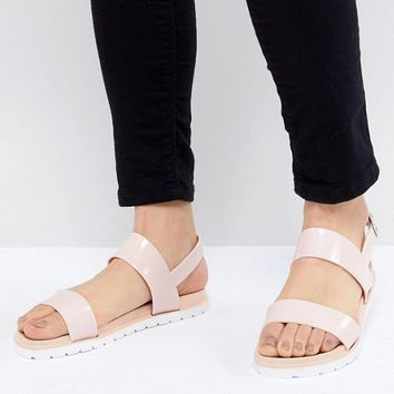 London Rebel Jelly Flat Sandals at asos.com