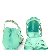 Bamboo Dalinda 30 Mint Scalloped Cutout Thong Sandals