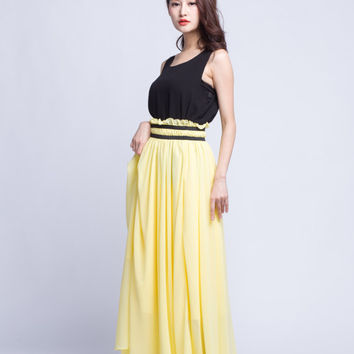 High Waist Wedding Skirt Chiffon Long Skirts Beautiful Elastic Waist Summer Skirt Floor Length Beach Skirt (201) 124#