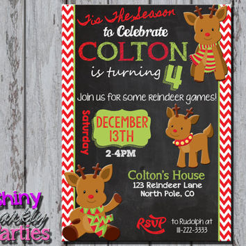 REINDEER BIRTHDAY INVITATION - Little Reindeer Invite - Christmas Birthday - Reindeer Invitation - Winter Birthday - Christmas Birthday