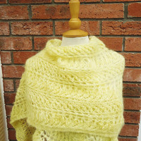 Large Mohair Shawl, Large Hand Knit Mohair Wrap, Hand Knit Mohair Stole, Lace Mohair Large Scarf, Yellow Mohair Scarf, Women Shawl in Yellow