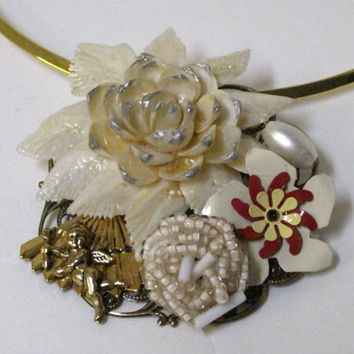 Angel In The Garden- Necklace/Pin Designed With Vintage Repurposed Jewelry